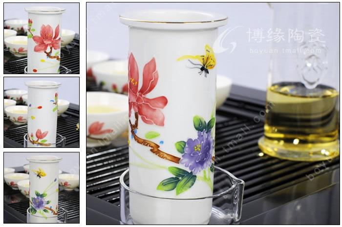 手绘花蝶泡茶器